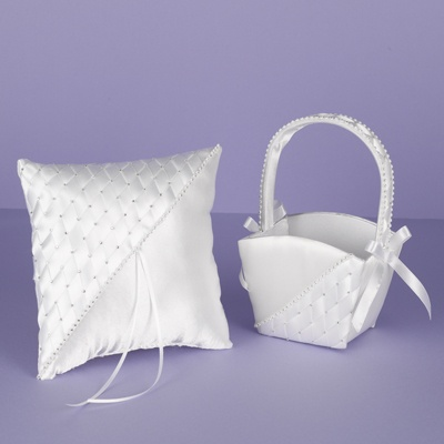 Woven with Rhinestones Basket and Pillow Set