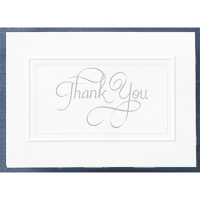 Bright White Panel With Silver Foil- Thank You Card And Envelope