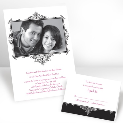Ebony Flourish Frame - Photo Invitation