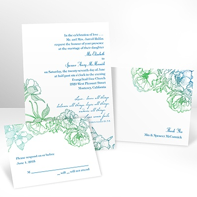 Sketched Flowers - Blue and Green - Invitation with Free Response Card