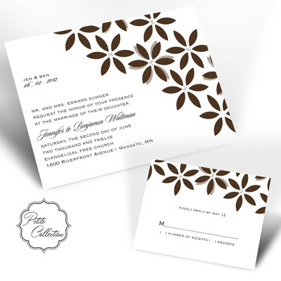 Floral Delight - Chocolate - Invitation