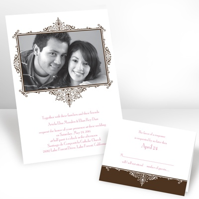 Chocolate Flourish Frame - Photo Invitation