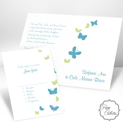 Butterflies in Flight - Palm - Petite Invitation