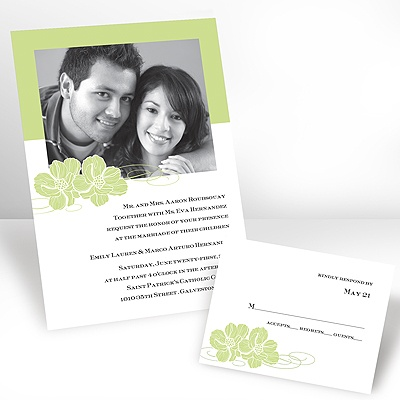 Leaf Pair of Flowers - Photo Invitation