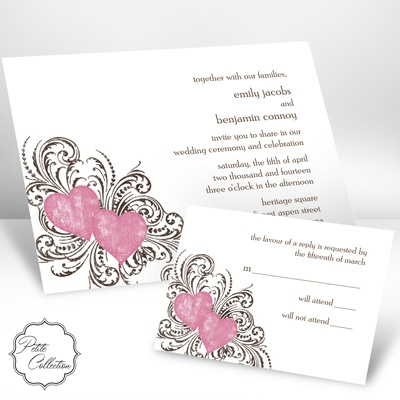 Hearts and Flourishes - Petal - Invitation