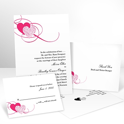 Close at Heart - Lipstick - Invitation with Free Response Card