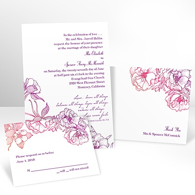 Sketched Flowers - Pink and Orange - Invitation with Free Respons Card