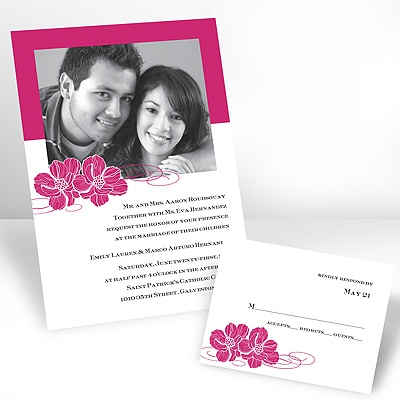 Lipstick Pair of Flowers - Photo Invitation
