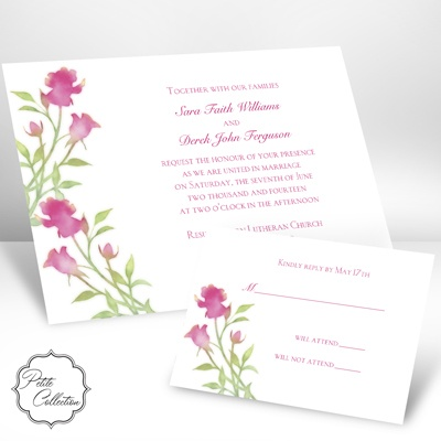 Watercolor Roses - Lipstick - Invitation