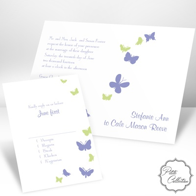 Butterflies in Flight - Hydrangea - Invitation