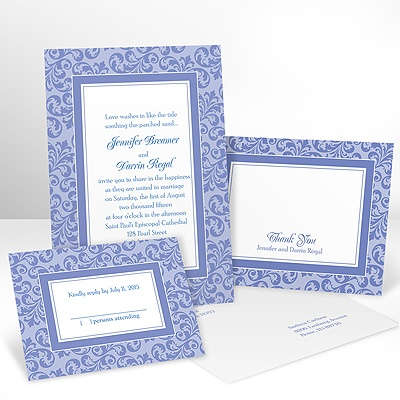 Filigree Frame - Hydrangea - Invitation with Free Response Card