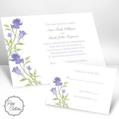 Watercolor Roses - Hydrangea Purple - Petite Invitation