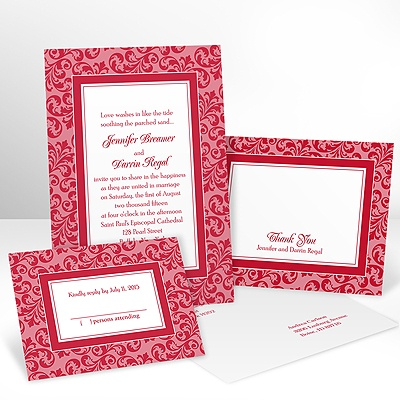 Filigree Frame - Barn Red - Invitation with Free Response Card