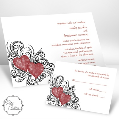 Hearts and Flourishes - Scarlet - Invitation