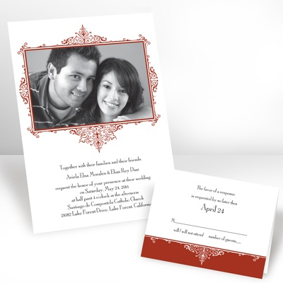 Scarlet Flourish Frame - Photo Invitation