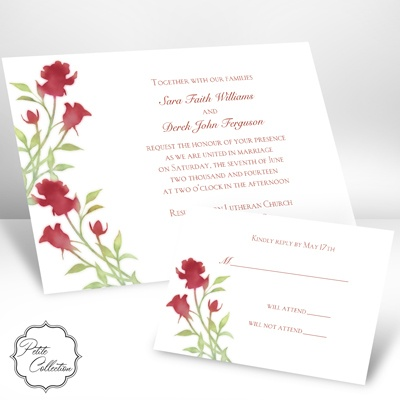 Watercolor Roses - Scarlet - Petite Invitation