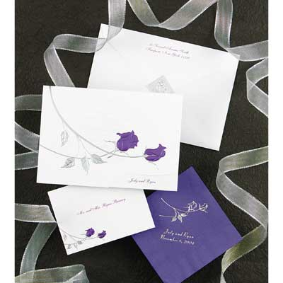 Rose Shine with Purple Foil Roses - Invitation