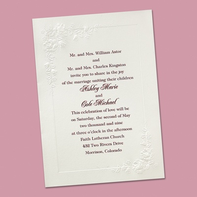 Cherished Roses in White - Invitation