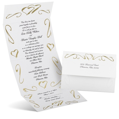 Hearts In Gold Seal And Send Wedding Invitation Cheap Wedding Invites At An