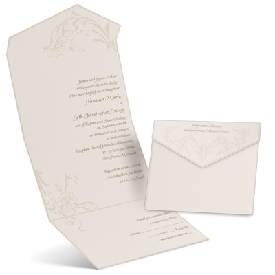 Ecru Seal And Send Wedding Invitation