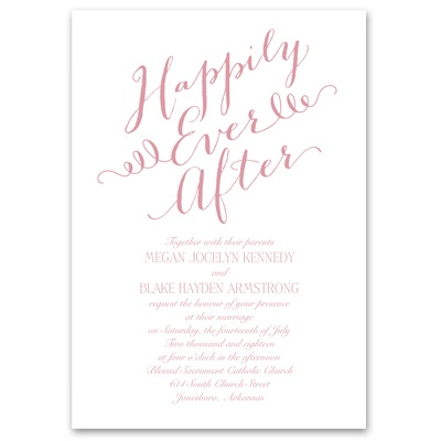 Happy ending wedding invitation fairy tale wedding for Cheap thermography wedding invitations