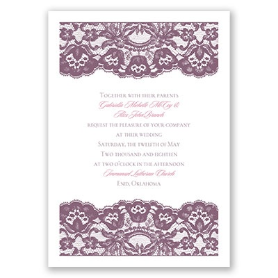 Dressed in lace wedding invitation at ann39s bridal bargains for Cheap thermography wedding invitations