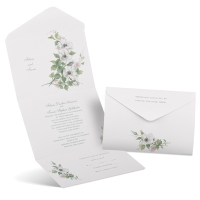 Classic Floral Seal And Send Wedding Invitation Cheap Wedding Invites At An