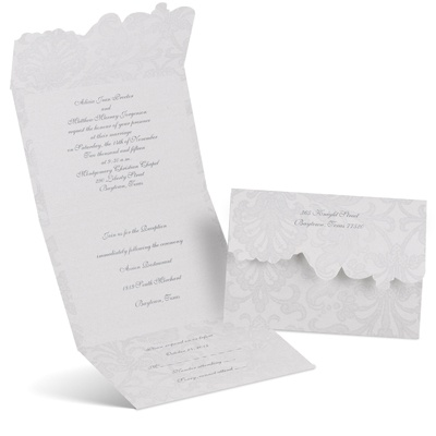 Vintage Appeal Seal And Send Wedding Invitation Gray Cheap Wedding Invite